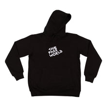 "Load image into Gallery viewer, Black ""FAKE World"" Pullover Hoodie"