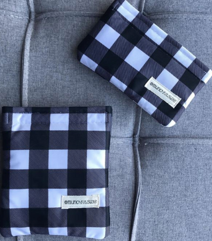 Black and White Plaid Reusable Bag