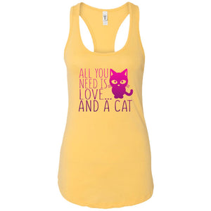 ALL YOU NEED IS LOVE AND A CAT 😻 RACER BACK TANK TOP