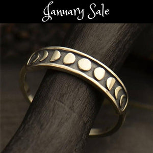 Beautiful Silver Moon Phase Finger Ring