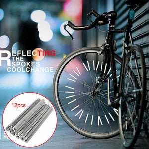 12PCS Cycling Wheel Rim Spoke Bike Mount Tube Warning Light Strip Safety Reflector Bicycle Reflective Tubes