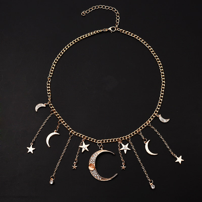 Beautiful Moon & Star Pendant Necklace