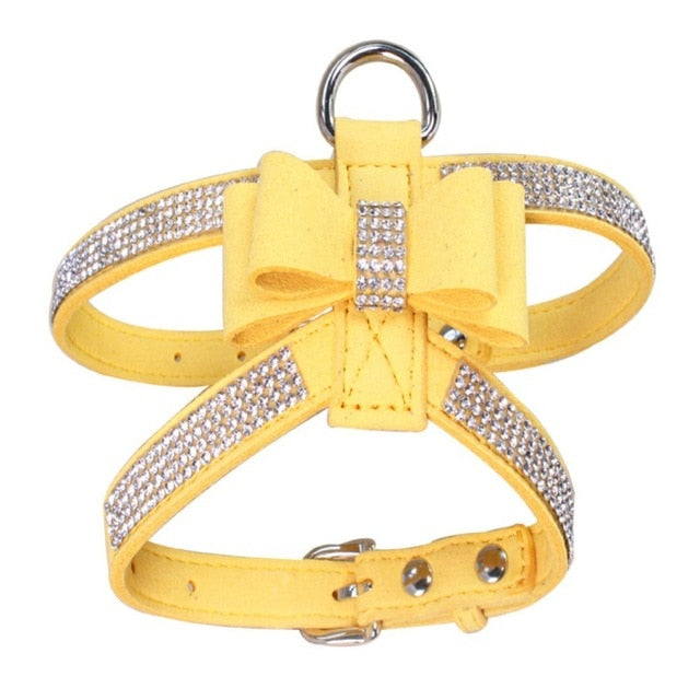 Pet Puppy Dog Harness Velvet & Leather-pawproducts.net-YELLOW-L-pawproducts.net