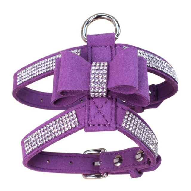 Pet Puppy Dog Harness Velvet & Leather-pawproducts.net-Purple-L-pawproducts.net