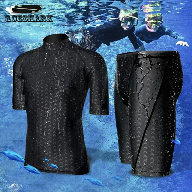 Men Short Sleeve Swim Shirt+Shorts Wetsuit Set