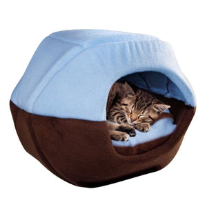 Foldable Soft Warm Winter Cat Bed-pawproducts.net-Blue-S-pawproducts.net