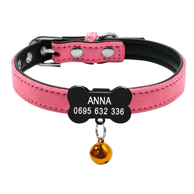 Cat Collar with Bell Personalized Safety-pawproducts.net-Black Bone 2-XXS-pawproducts.net