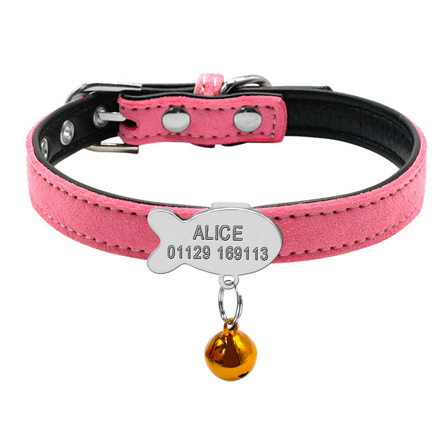 Cat Collar with Bell Personalized Safety-pawproducts.net-Silver Fish 2-S-pawproducts.net