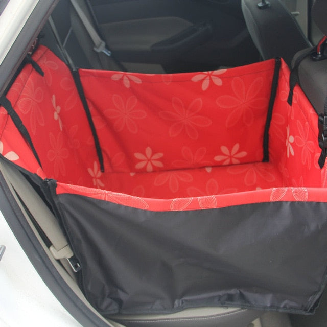 Dog Car Back Seat Carrier-pawproducts.net-Red flower-Single Seat-pawproducts.net