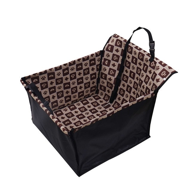 Dog Car Back Seat Carrier-pawproducts.net-Coffee lattice-Single Seat-pawproducts.net