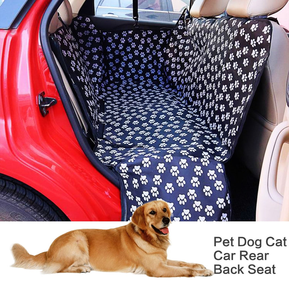 ] Fabric Paw pattern Car Pet Seat-pawproducts.net-Black Footprint-130x 150x 38cm-pawproducts.net