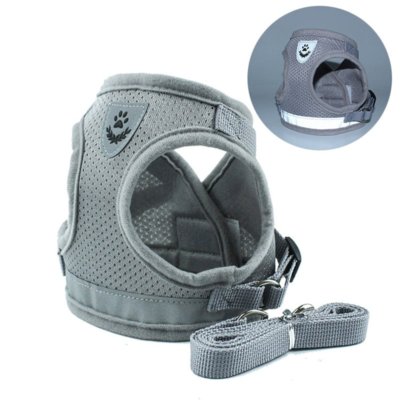 Vest Harness Leash Adjustable-pawproducts.net-Gray-XS-pawproducts.net