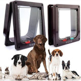 4 Way Lockable Dog Cat Kitten Door-pawproducts.net-White-L-pawproducts.net