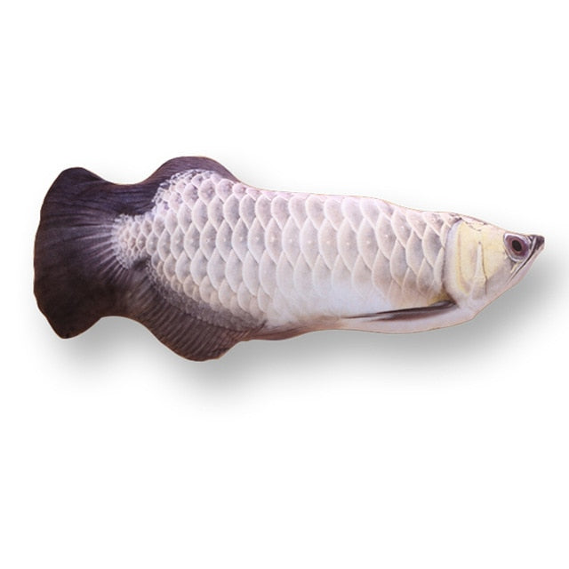 Pet Soft Plush Creative 3D Carp Fish Shape Cat Toy-pawproducts.net-silver arowana-20cm-pawproducts.net