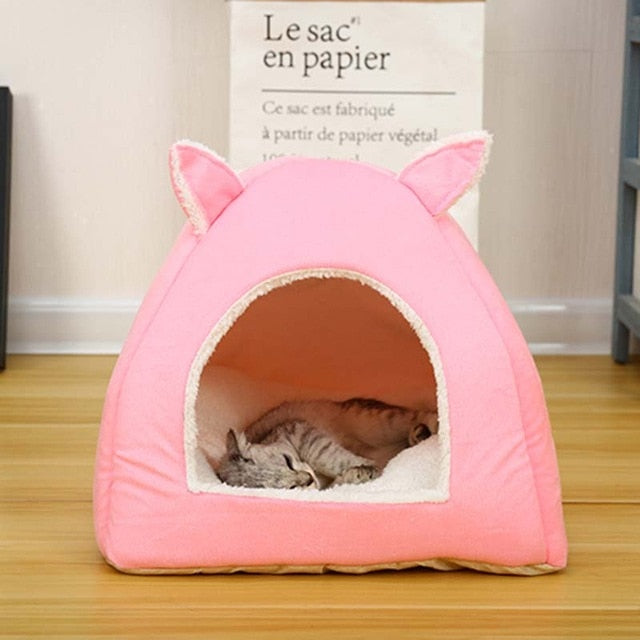 Foldable Cat Bed-pawproducts.net-Pink-S-pawproducts.net