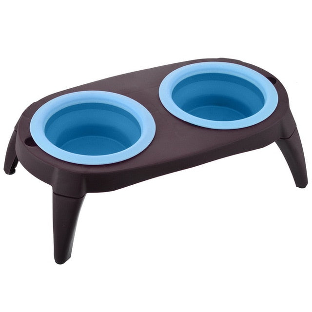 Double Dog Bowl With Non-Skid Silicone-pawproducts.net-blue-pawproducts.net
