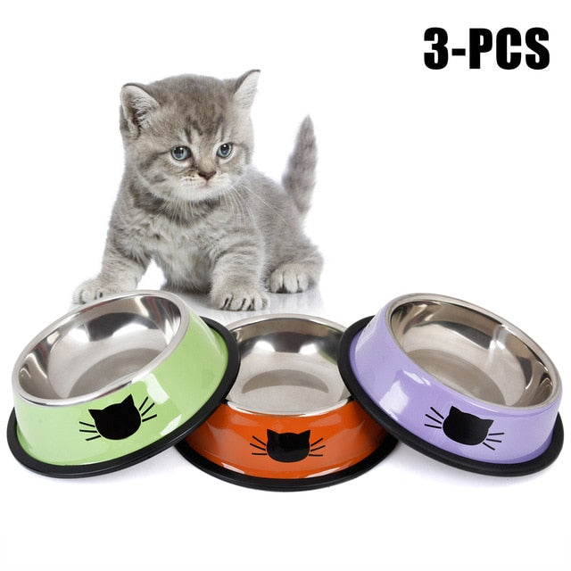 Product For Cat Bowl-pawproducts.net-Green Orange Purple-pawproducts.net