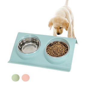 Stainless Steel Double Pet Feeder-pawproducts.net-Pink-S-pawproducts.net