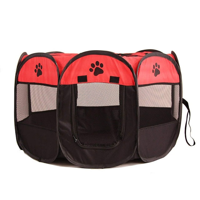 Portable Foldable Playpen Pet Dog Crate Room-pawproducts.net-Red-73x73x43cm-pawproducts.net
