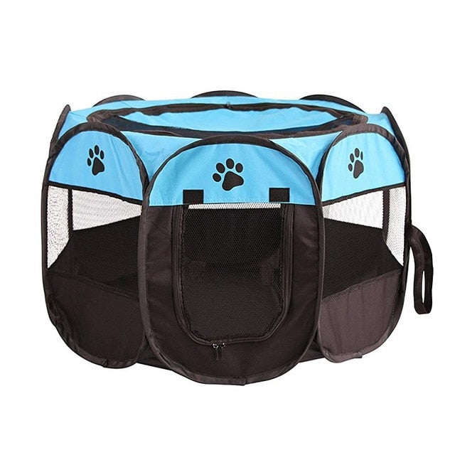 Portable Foldable Playpen Pet Dog Crate Room-pawproducts.net-Blue-73x73x43cm-pawproducts.net
