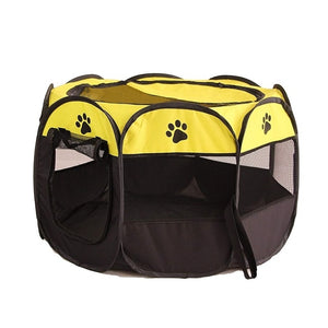 Portable Foldable Playpen Pet Dog Crate Room-pawproducts.net-Yellow-73x73x43cm-pawproducts.net
