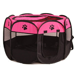 Portable Foldable Playpen Pet Dog Crate Room-pawproducts.net-Rose Red-73x73x43cm-pawproducts.net