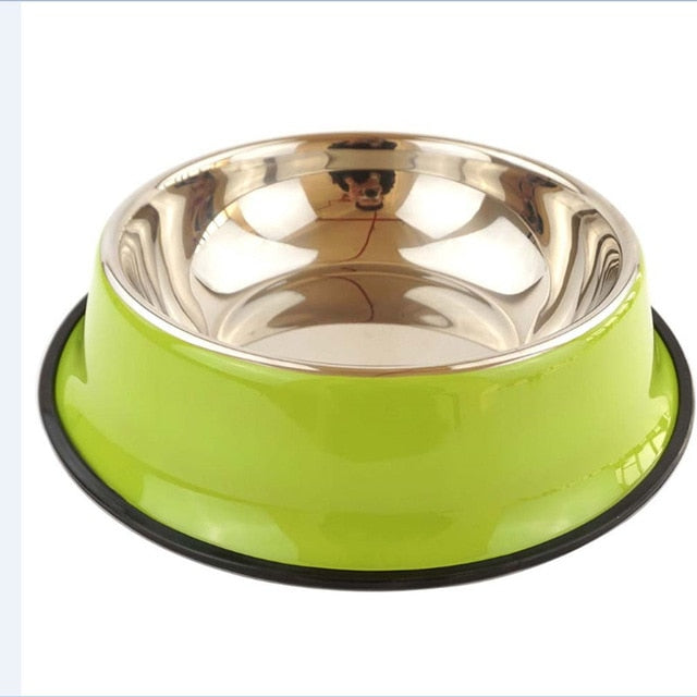 Dog & Cat Puppy Anti Skid Stainless Steel Travel Feeding-pawproducts.net-Green-pawproducts.net
