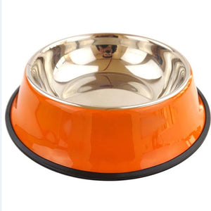 Dog & Cat Puppy Anti Skid Stainless Steel Travel Feeding-pawproducts.net-Orange-pawproducts.net