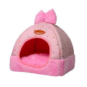 Pet Dog Bed & Sofa Houset-pawproducts.net-Style 1 pink1-S-pawproducts.net