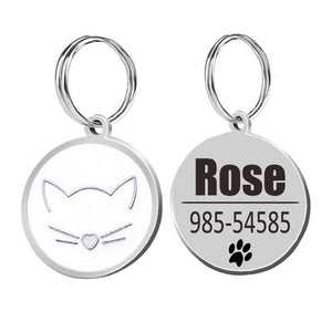 Cat ID Tags Cat Collar-pawproducts.net-white-25x25cm-pawproducts.net
