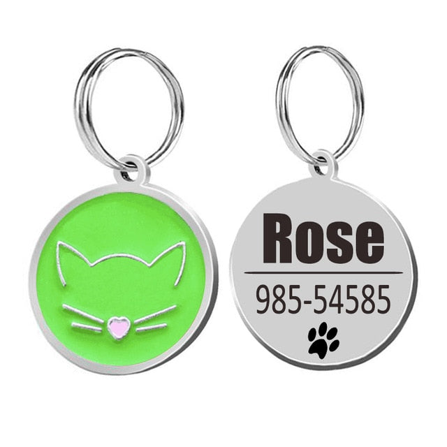 Cat ID Tags Cat Collar-pawproducts.net-green-25x25cm-pawproducts.net