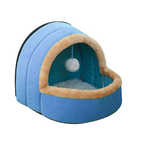 Puppy House with Toy Ball-pawproducts.net-Blue-S-pawproducts.net