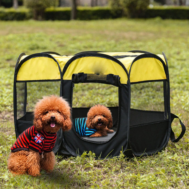 Outdoor Portable Foldable Dog Playpen-pawproducts.net-Yellow-S-pawproducts.net