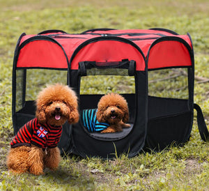 Outdoor Portable Foldable Dog Playpen-pawproducts.net-Red-S-pawproducts.net