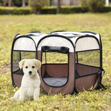 Outdoor Portable Foldable Dog Playpen-pawproducts.net-Brown-S-pawproducts.net