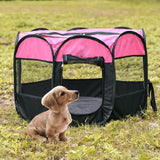 Outdoor Portable Foldable Dog Playpen-pawproducts.net-Rose Red-S-pawproducts.net