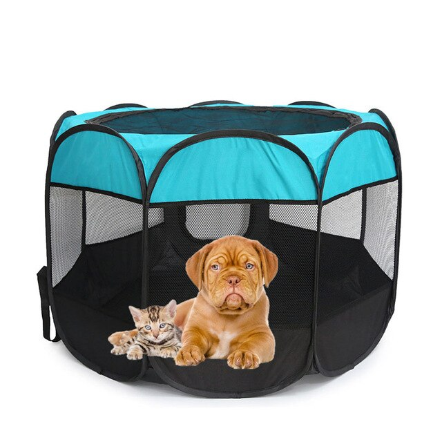 Outdoor Portable Foldable Dog Playpen-pawproducts.net-Blue-S-pawproducts.net