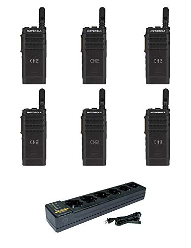 Motorola SL300-V-SC-99 VHF 136-174MHz 99 Channel 3 Watt Digital DMR Display Radio with PMLN7101 Multi Unit Charger AAH88JCP9JA2AN (6 Pack)