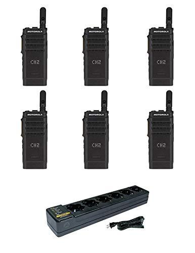 Motorola SL300-U-SC-99 AAH88QCP9JA2AN UHF 403-470MHz 99 Channel 3 Watt Digital DMR Display Radio with PMLN7101 Multi Unit Charger (6 Pack)