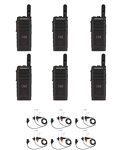 Motorola SL300-V-SC-99 VHF 136-174MHz 99 Channel 3 Watt Digital DMR Display Radio with E346 Surveillance Headset AAH88JCP9JA2AN (6 Pack)