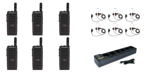 Motorola SL300-U-SC-99 AAH88QCP9JA2AN UHF 403-470MHz 99 Channel 3 Watt Digital DMR Display Radio with E346 Surveillance Headset and PMLN7101 Multi Unit Charger (6 Pack)