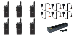 Motorola SL300-V-SC-99 VHF 136-174MHz 99 Channel 3 Watt Digital DMR Display Radio with M4013 Speaker Microphone and PMLN7101 Multi Unit Charger AAH88JCP9JA2AN (6 Pack)