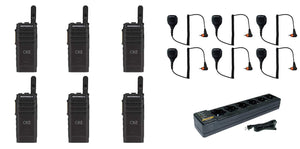 Motorola SL300-U-SC-99 AAH88QCP9JA2AN UHF 403-470MHz 99 Channel 3 Watt Digital DMR Display Radio with M4013 Speaker Microphone and PMLN7101 Multi Unit Charger (6 Pack)