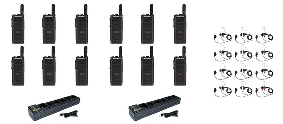 Motorola SL300-V-SC-99 VHF 136-174MHz 99 Channel 3 Watt Digital DMR Display Radio with E346 Surveillance Headset and PMLN7101 Multi Unit Charger AAH88JCP9JA2AN (12 Pack)