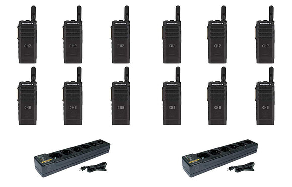 Motorola SL300-V-SC-99 VHF 136-174MHz 99 Channel 3 Watt Digital DMR Display Radio with PMLN7101 Multi Unit Charger AAH88JCP9JA2AN (12 Pack)