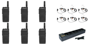 Motorola SL300-V-SC-2 VHF 136-174MHz 2 Channel 3 Watt Digital DMR Radio with E346 Surveillance Headset and PMLN7101 Multi Unit Charger AAH88JCC9JA2AN (6 Pack)