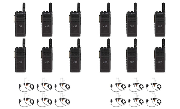 Motorola SL300-V-SC-99 VHF 136-174MHz 99 Channel 3 Watt Digital DMR Display Radio with PMLN7156 Earbud AAH88JCP9JA2AN (12 Pack)