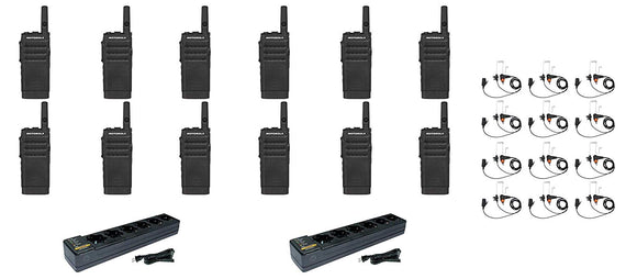 Motorola SL300-V-SC-2 VHF 136-174MHz 2 Channel 3 Watt Digital DMR Radio with E346 Surveillance Headset and PMLN7101 Multi Unit Charger AAH88JCC9JA2AN (12 Pack)