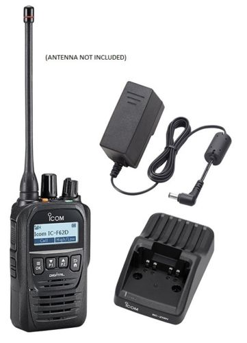 Icom F62D 21 4W 512CH IP67 Digital UHF 450-520MHZ IDAS Waterproof Radio with Charger