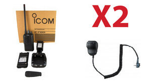 QTY 2 New Icom F3001 03 RC high powered VHF 136-174mhz 5 watt 16 channel two way radio and speaker microphone